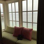 window seat with binoculars
