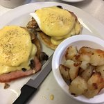 2 eggs Benedict, and home fries...... Double YUM!!!!