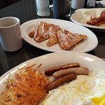 Eggs, Hashbrowns and Sausage...side of French Toast.....yum!