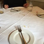 Our table cloth unchanged for dessert