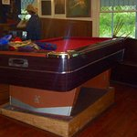 The pool table in the bare is level... not so the floor!