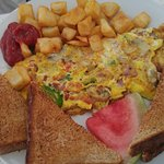 """Angel's Special"" 3-egg Omelette, home fries, and whole wheat toast"