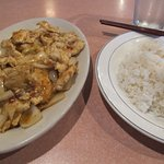 Lemon Grass Chicken with onions and rice