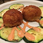 crab cakes with salsa rosa