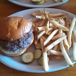 Blue Pig burger, stuffed with bacon and blue cheese