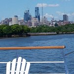 view of Philly skyline from the deck