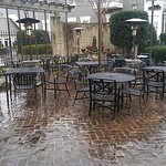 Delightfully drippy day - cobbled courtyard