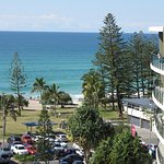 Fantastic view from 8th floor apartment balcony, looking over foreshore and beach