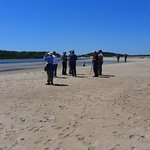 Bird-watchers on the beach, looking for the elusive plover!