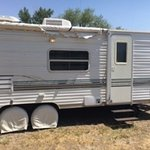 Exterior of camper - notice the awning!