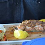 stone ground mustard salmon on cedar plank