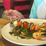 Sea food skewer with vegetable skewer