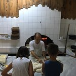 Making their own bread for starters guided by the master chef!