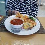 Tomato Basil Pie ans chorizo soup