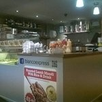 small counter, where the pancakes are made, at the back kitchen