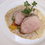 Slow cooked veal with mustard dressing
