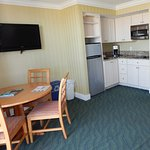 All the convenience of home with a fully equipped kitchen in a suite!