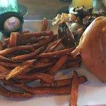 Great size hamburger and sweet potato fries