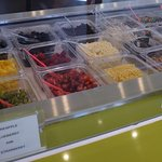 Fresh fruit toppings are cut daily