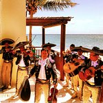 Mariachi group performing for us on the back patio of the Fairmont beach suite.