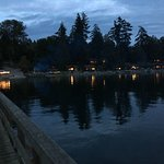 Evening photo of the Resort taken from the dock. Visible is the nightly bonfire