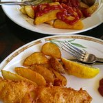 Sharing the Delicious Fish & Chips!