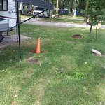 The orange cone is in a large hole that was on our campsite.