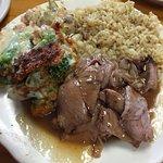 roast beef, gravy, rice, Broccoli au gratin