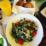 Room service. Large green salad, freshly squeezed orange juice. Vegan