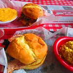 Pork and brisket sandwiches - sides of corn pudding and grits