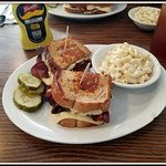 This was so Yummy in our Tummies!! Hot Pastrami with Swiss Cheese with a side of Mac Salad.