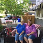Great front porch for chatting and photo opportunities. Hi Mom!
