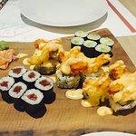 Shrimp tempura, tuna maki, avocado maki