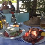 Lovely grilled squid with Greek salad