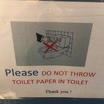 instructions in ladies room not to throw toilet paper in toilet