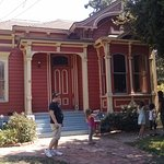Outside of one of the Victorian homes