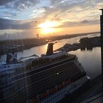 Looking out our window in the morning of our cruise ship departure.