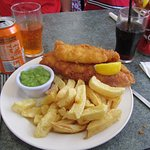 superb fish and chips with mushy peas