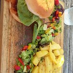 Burger and chunky chips