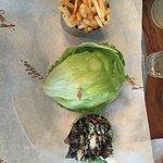 California Burger - lettuce replaces the bun, the burger is hidden inside