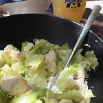 refreshing and tasty chicken caesar salad and a cool Sandy to quench your thirst!