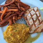 Ordered meal for dinner. Grilled salmon with maple glaze is so good! One of two side dishes I ha