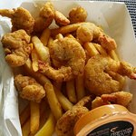Wild prawns, lobster nuggets, and the best chips in Cairns. Yum!