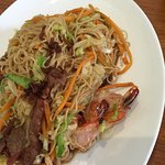 Mixed meat soft noodle dish