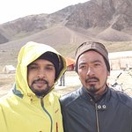 With Vikram ; from the Sarchu Gold rop camp