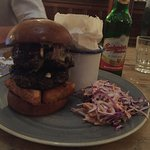 Heroic hero burger, slaw, fries and an awesome beer