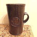hand made blackbird coffee cup. made by GCSU college students.