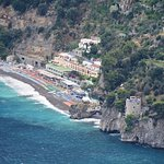 Fornillo Beach from Walk of the Gods Trail (with a long zoom!); La Dolce Vita is at high-center.