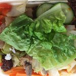 Rice box - tasty meat, veg, rice and fresh salad. Plus chilli sauce if required :)