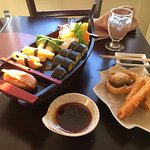 Vegetable sushi roll and vegetable tempura!